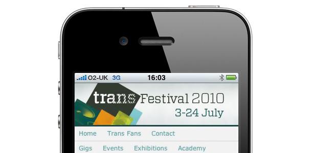New iPhone Website for Trans Festival Belfast 2010