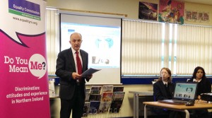 "Michael Wardlow of the Equality Commission for Northern Ireland at the launch of the ""Do You Mean Me?"" website."